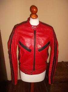 vintage 70 s motorrad lederjacke motorcycle red leather. Black Bedroom Furniture Sets. Home Design Ideas