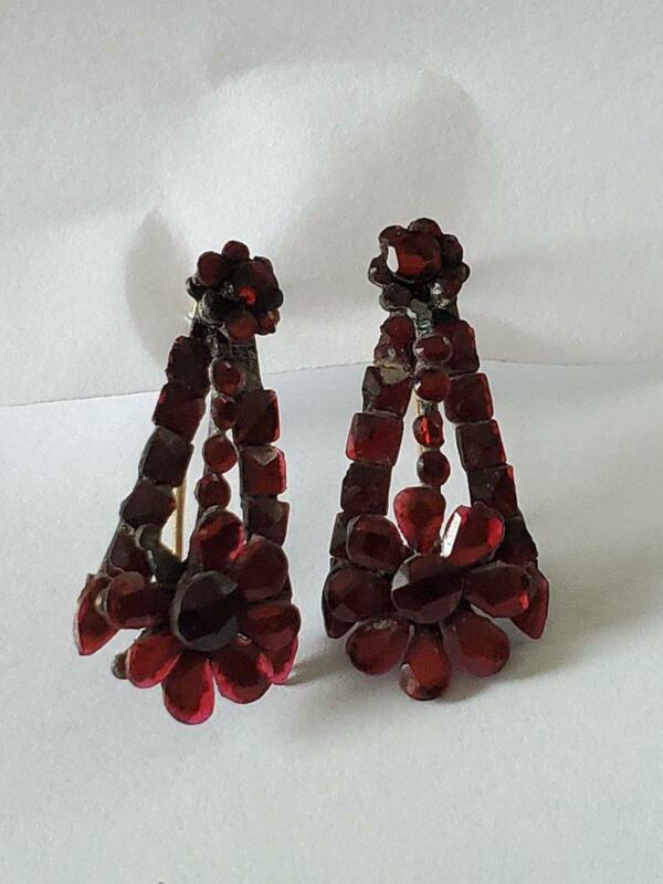 Antique Victorian Ruby Red Vauxhall Glass Drop Earrings As Found