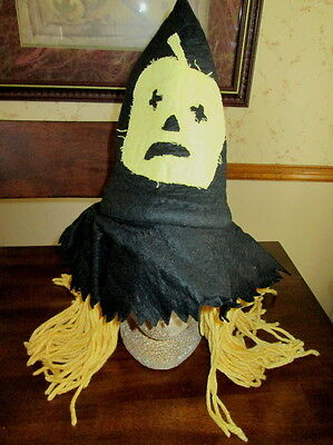 Custom Made KIDS WITCH HAT with Yellow YARN HAIR Costume PUMPKIN APPLIQUE Girls](Witch Hat With Hair)