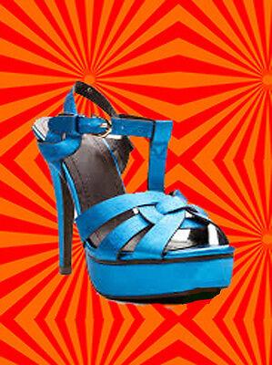 S11✪ 60er 70er Jahre Hippie Plateau Schuhe Sandalette Disco Metallic blau