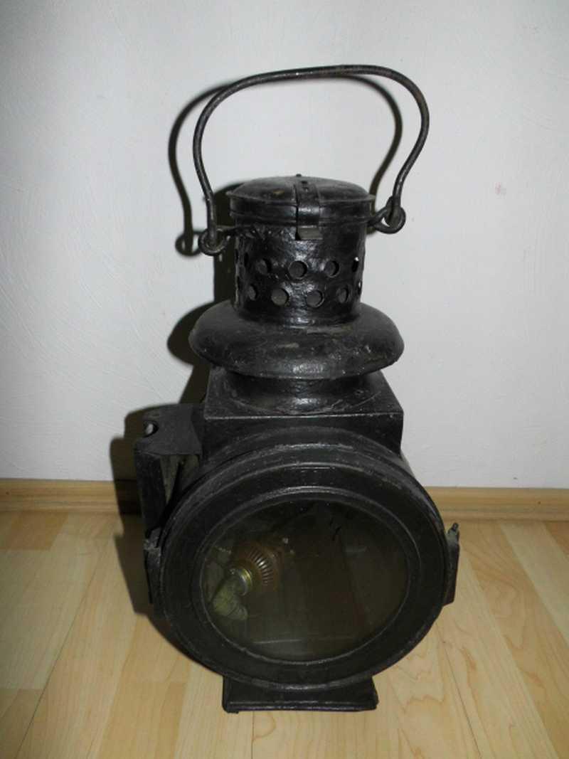 alte Bahnlampe, Petroleumlampe, Laterne, Signallampe, Wärterlampe Eisenbahnlampe