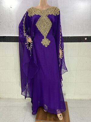 EXCLUSIVE ABAYA DUBAI WOMEN FARASHA MAXI GEORGETTE WEDDING LONG GOWN DRESS 1020