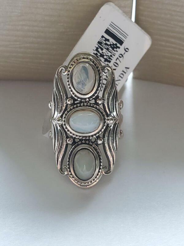 Jtv Sterling Silver Ethiopian Opal Ring SZ 6.5