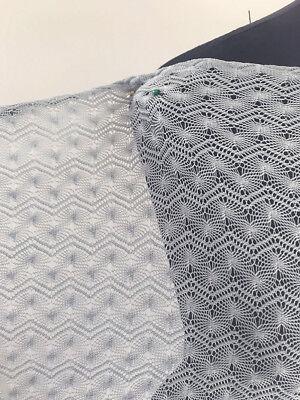 Dawn Blue Lacey Filigree Light Sweater Knit Dressmaking Fabric