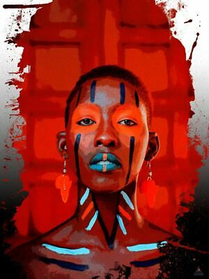 Used, African Woman Poster Art Wall Decor Red Beauty (18x24) for sale  Shipping to Nigeria