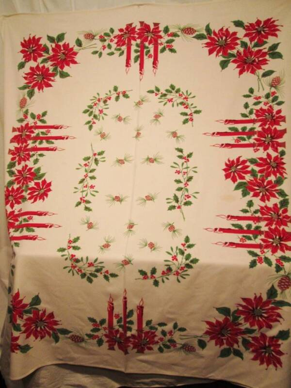 Vtg Christmas Tablecloth Cotton Rectangle Red Poinsettia Candles Pinecones 53x63