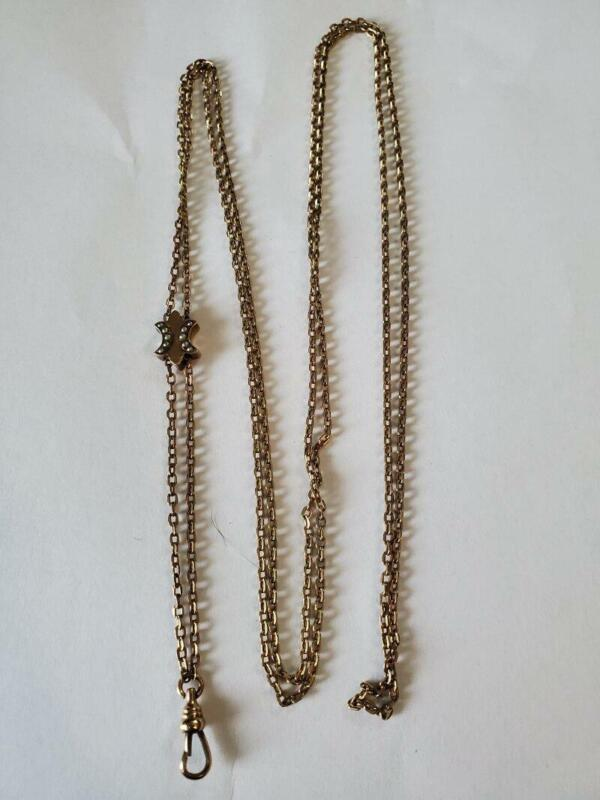 Antique Victorian Gold Filled Seed Pearl Slide Muff Chain