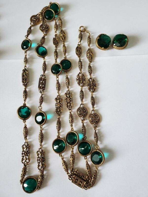 Vintage Accessocraft Gold Tone Green Rhinestone Necklace & Earrings Set