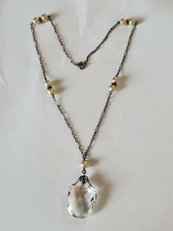 Vintage Art Deco Sterling Pearl Crystal Drop Necklace