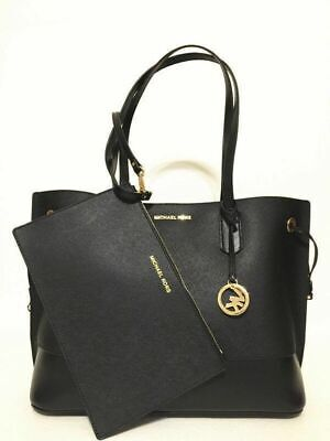 Michael Kors Trista Large Drawstring Tote Leather Bag Black NWT