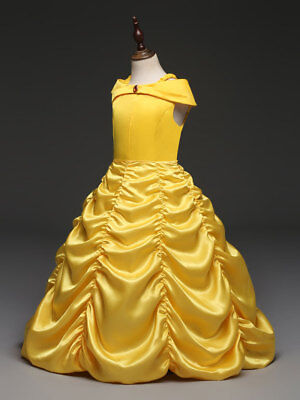 Beauty And The Beast Dress (2018 Girls Beauty and the Beast Dress kids Princess Belle Wedding Size 2-8T)