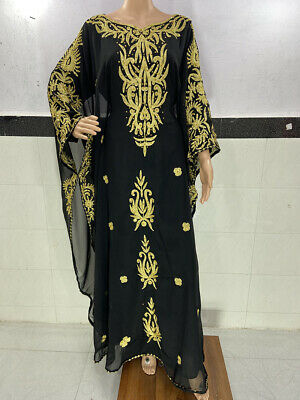 NEW MOROCCAN BLACK PURPLE WHITE DUBAI KAFTANS ABAYA DRESS FARASHA ISLAMIC MS 202