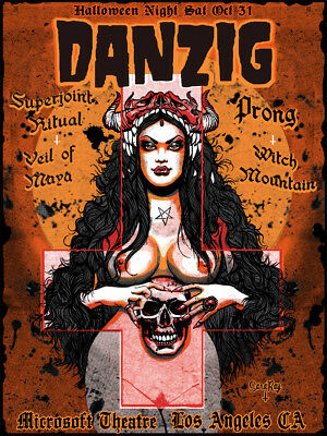 Danzig silkscreen concert poster Los Angeles Halloween show sold out art