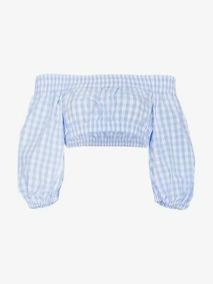 Adam Selman Sport Gingham Bardot Cotton Cropped Top Size S