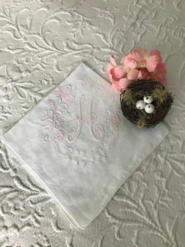 ANTIQUE MADEIRA Embroidery & Applique MONOGRAM H * Powder PINK * BRIDAL HANKY