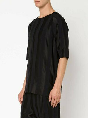 Alexandre Plokhov Black Striped Viscose T-Shirt Sz 48