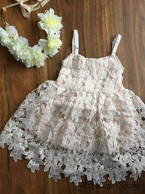 Baby Girls Flower White Lace Bodice Dress Birthday Party Gift Xmas Christmas (Girls White Party Kleider)