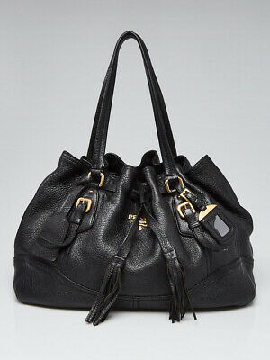 Prada Black Vitello Daino Leather Cinch Tote Bag