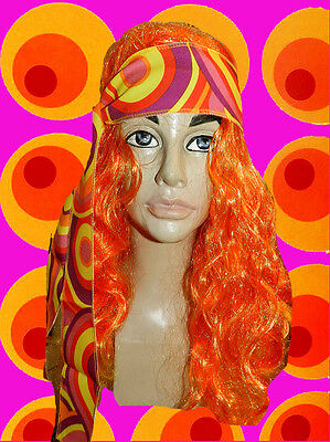 A68✪ 60er 70er Jahre Hippie Flower Power Langhaar Perücke Disco Queen orange