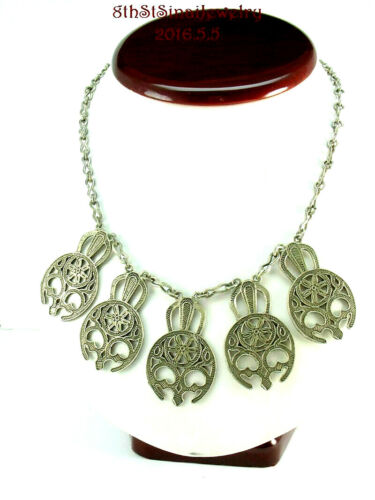 """Unusual Skull Masks Egypt Egyptian Handcrafted 900 Silver Necklace 16.75"""""""