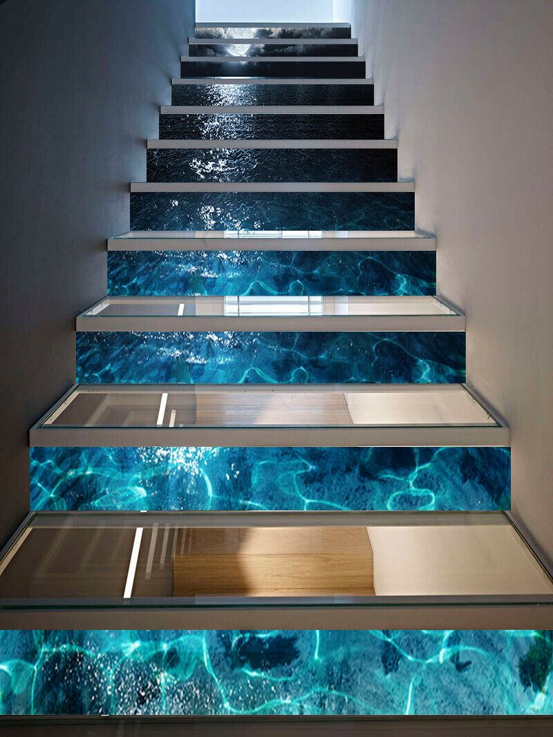 3D Bright Moon Light Self-Adhesive Stair Stickers Staircase Decals Home Decor
