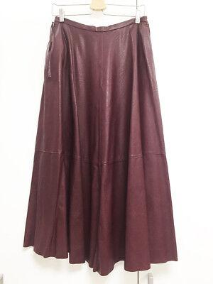 [Maison Margiela] MM6 A-Line Faux-Leather Long Skirt Burgundy Sz 42 $480 / NWT