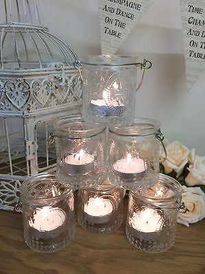 Set of 6 Vintage Glass Tea Light Candle Holders Hanging Jars