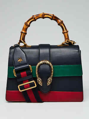 Gucci Blue/Green/Red Striped Leather Dionysus Medium Top Handle Bag