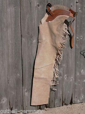 Long-chaps / Westernchaps Reithose Fullchaps mit Fransen nature beige Leder  (Western Chaps)