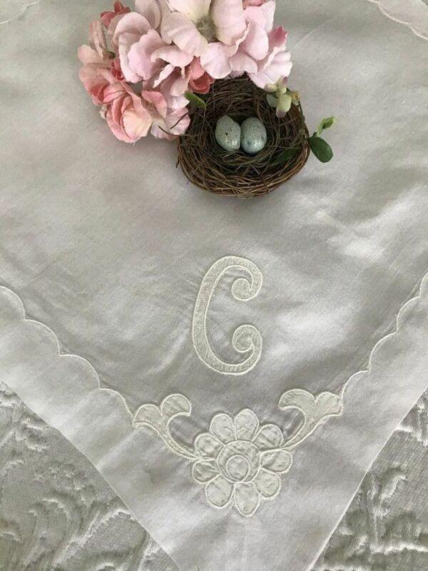 Elegant ANTIQUE SATIN APPLIQUE Monogram C Wedding BRIDAL HANKY