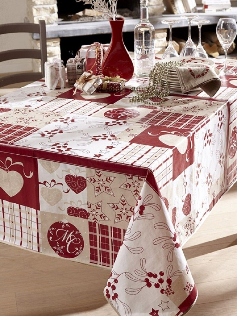 nappe en toile cir e 140x250 baie de noel rouge achat vente nappe de table cdiscount. Black Bedroom Furniture Sets. Home Design Ideas