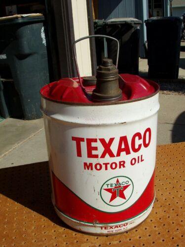 VINTAGE TEXACO 5 GALLON MOTOR OIL TIN CAN SAE 30 W BENNETT INDUSTRIES RED TOP