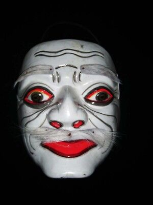 Glossy White Guy With Moustache Hand Carved Balinese Topeng Wooden Mask H - White Mask With Mustache