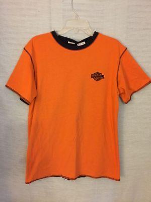 black orange reversible t shirt harley davidson heavy weight size small -
