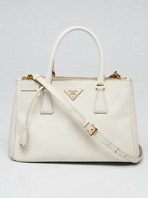 Prada White Saffiano Lux Leather Small Zip Tote Bag 1BA863