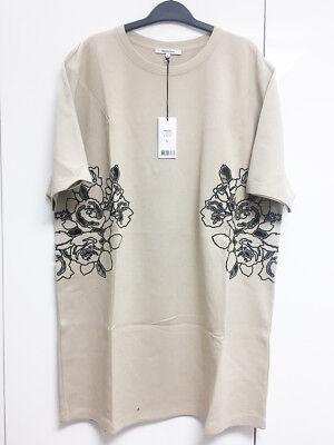 [Carven] Floral Cut-Out Sweatshirt Dress Beige Flower One-piece Sz L / NWT