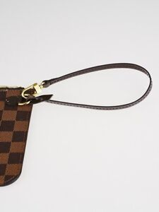 Authentic Louis Vuitton Neverfull Pouch Strap in Damier Ebene