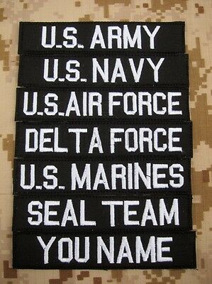 Black Chest Tapes Custom name Tapes ARMY NAVY  SEAL  Embroidery Patch