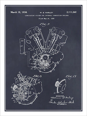 1936 harley davidson knucklehead engine patent print art drawing 1936 harley davidson knucklehead engine patent print art drawing poster 18 x 24