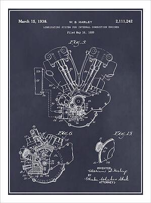 1936 harley davidson knucklehead engine patent print art drawing 1936 harley davidson knucklehead engine patent print art drawing poster 18 x 24