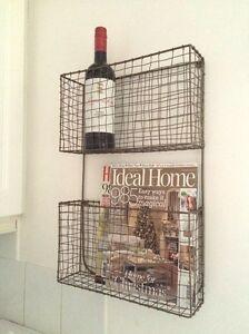 Antique Copper Wire Magazine Newspaper Wine Rack Vintage Wall Storage Baskets