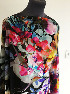 Moonlight Japanese Garden  Floral Print Washed Satin Chiffon Dressmaking Fabric