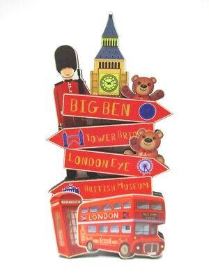 London Wood 2D Magnet Signpost Big ben Tower Souvenir Great Britain, New