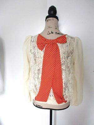 NWT RYU Anthropologie Ivory Bow Back Lace Shirt Top (Bow Back Lace)