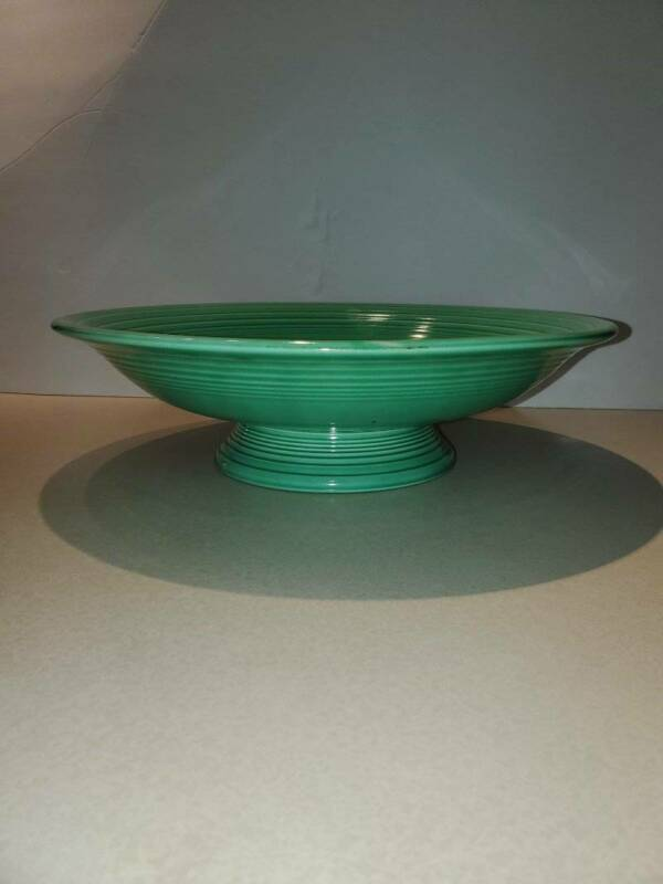 "Vintage Fiesta Fiestaware 12 3/8"" Green Compote Footed Bowl"
