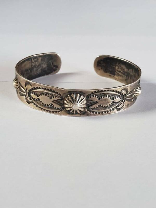 Vintage Early Fred Harvey Coin Silver Stamp Cuff
