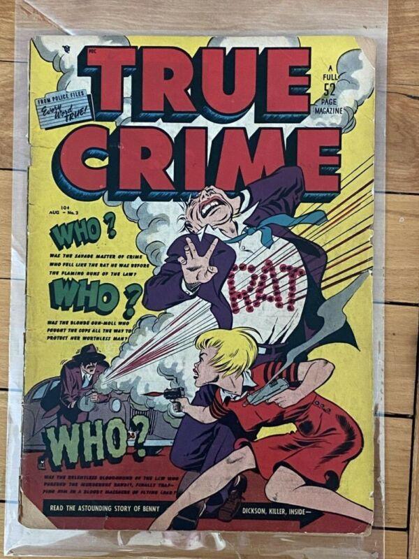 """True Crime Comics #3 Iconic """"RAT"""" cover! 1948"""
