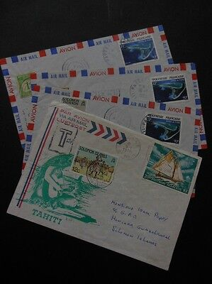FRENCH POLYNESIA : 3 interesting 1983 + 1 1978 Air Letter to Solomon Islands