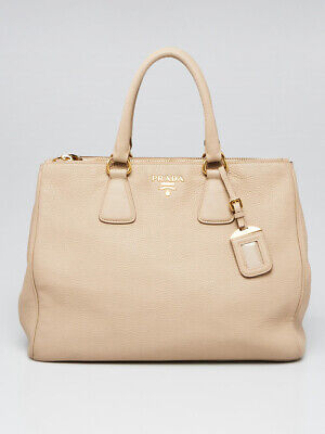 Prada Beige Pebbled Daino Leather Double Zip Tote Bag