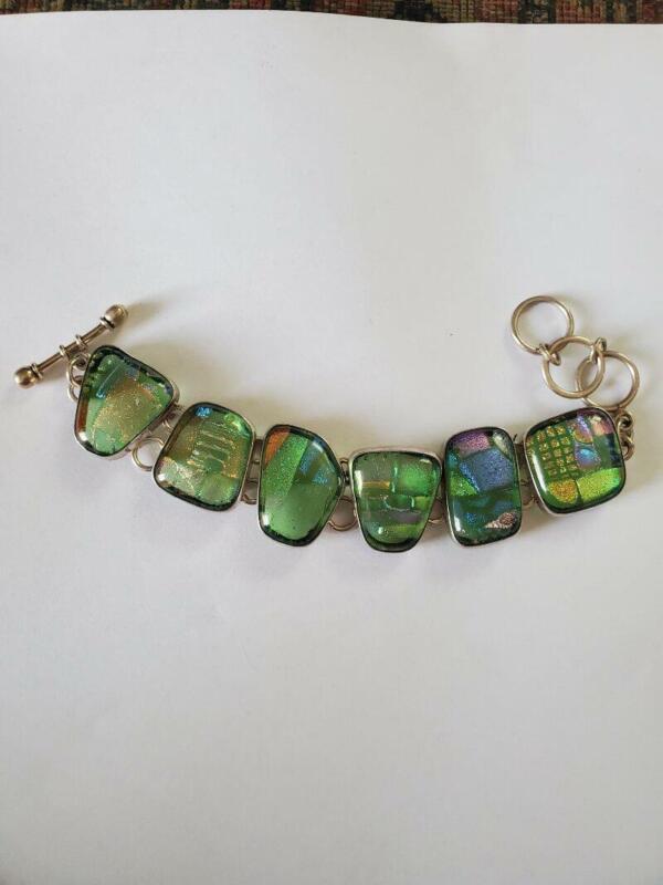 Vintage Charles Albert Venetian Art Glass Sterling Bracelet